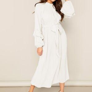 Shein Lantern Sleeve Pleated Dress